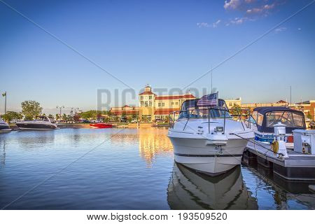 Summer landscape. Boats on the lake Ontario. Rochester, USA
