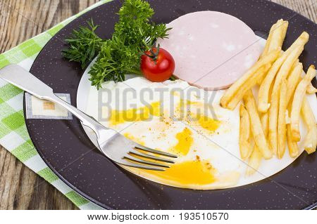 Delicious hearty lunch or breakfast on Plate. Studio Photo