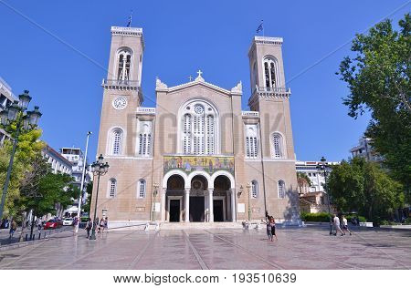 ATHENS GREECE, JUNE 22 2017: Metropolitan Cathedral of the Annunciation Athens Greece. Editorial use.