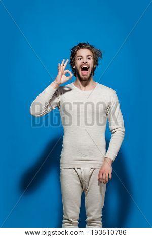 Ok Gesture Of Happy Man In Morning In White Underwear