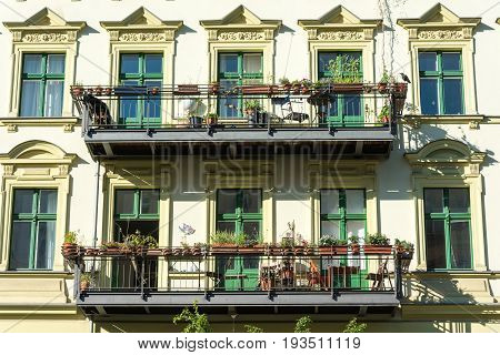 Facade of an old renovated houses at the Prenzlauer Berg district in Berlin