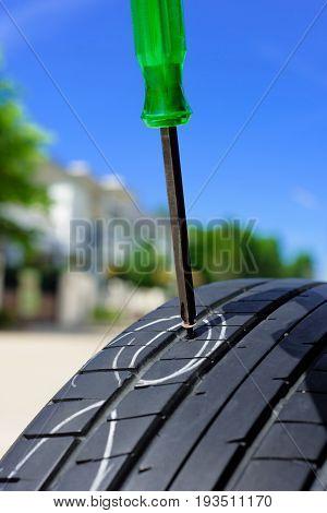 Damaged Car Tire