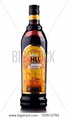 POZNAN POLAND - MAY 31 2017: Kahlua is brand of Mexican coffee-flavored liqueur containing rum corn syrup and vanilla bean. It is manufactured by French company Pernod Ricard