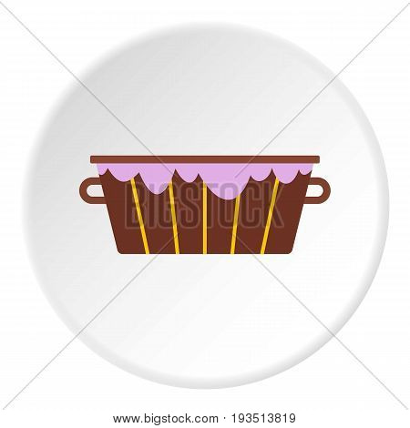 Wooden bucket with foam icon in flat circle isolated vector illustration for web