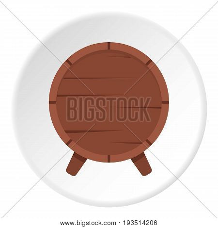 Wooden barrel on legs icon in flat circle isolated vector illustration for web