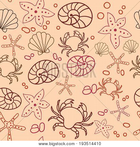 Seamless marine pattern. Sea, crab, starfish, shells. The underwater world. Vector illustration. Marine background Children backdrop Eps10