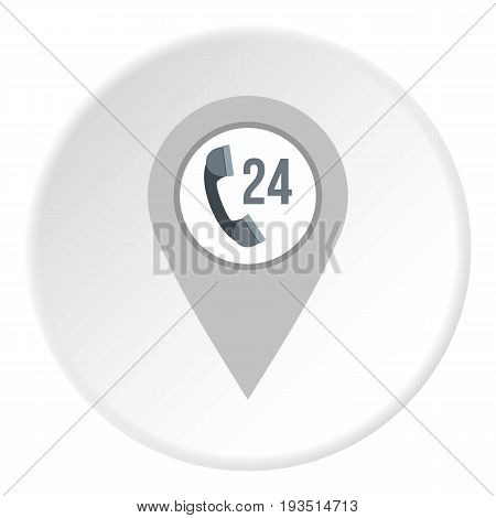 Gray map pointer with phone handset sign icon in flat circle isolated vector illustration for web