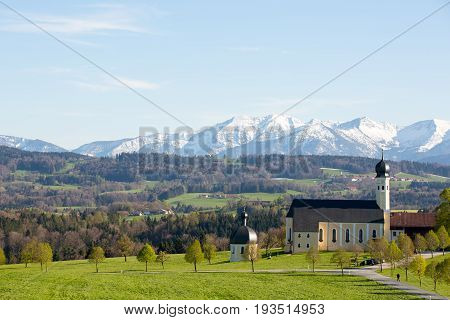 Church Wallfahrtskirche at Wilparting in Bavaria, Germany. The Catholic pilgrimage church.