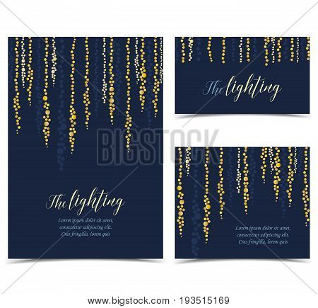 Vector illustration of light cords on a dark background. String Lights. Set of greeting cards