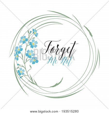Vector illustration blue flowers. Wreath of blue forget-me-not flowers