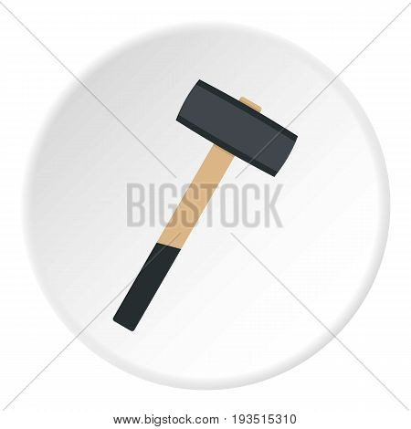 Sledgehammer icon in flat circle isolated vector illustration for web