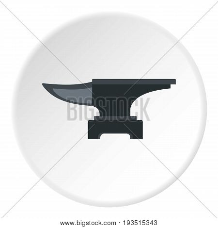 Heavy black metal anvil icon in flat circle isolated vector illustration for web
