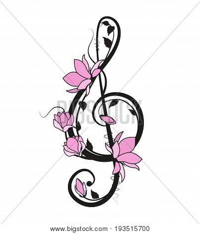 Vector illustration music key with flowers on a white background