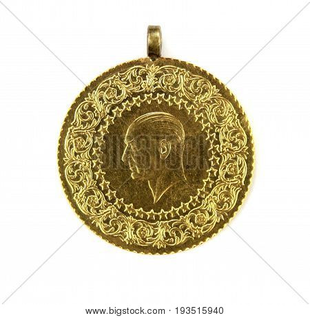 Turkish gold coin close up image .