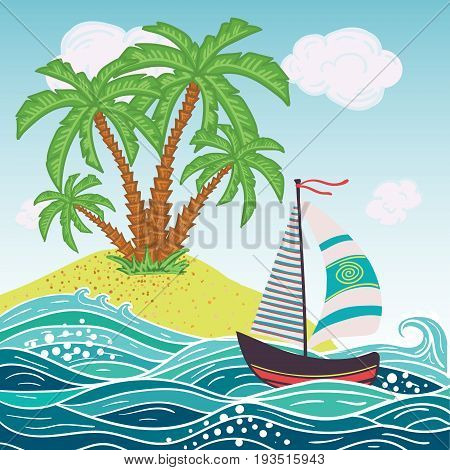 Ship, sun, tropical sea island with palm trees and flowers. Vector illustration