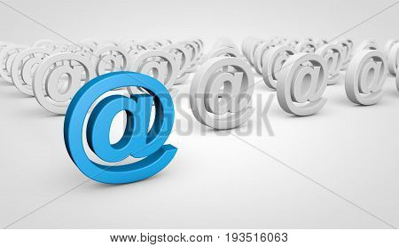 Web contact us conceptual abstract image with at symbol and icon 3D illustration.