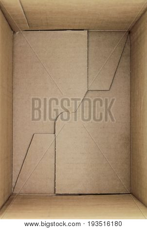 Empty cardboard box 3d view close up image
