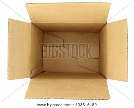 Empty cardboard box 3d view on white background