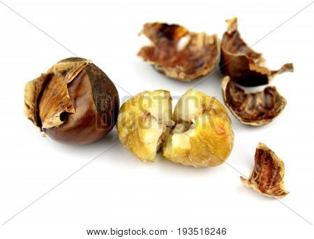 Roasted chestnuts with shells on white background