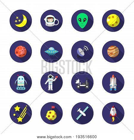 set of astronomy flat icon, flat style, isolated on white background. Eps10
