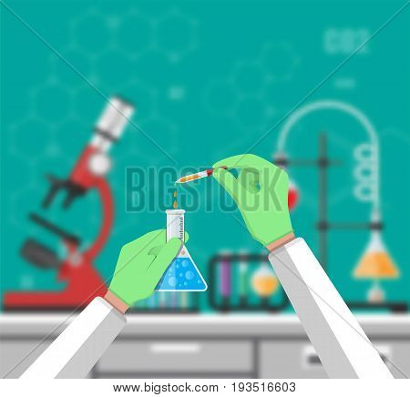Science Experiment in laboratory. Lboratory equipment, jars, beakers, flasks, microscope, spirit lamp. Blurred background. Biology science education medical vector illustration in flat style