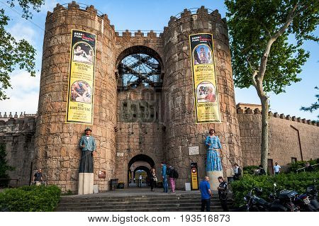 BARCELONA, SPAIN - MAY 2017: Entrance gates to traditional medieval Spanish village (Poble Espanyol)