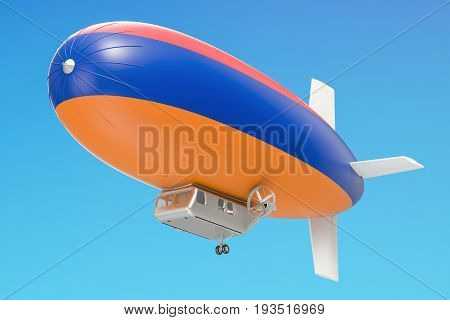 Airship or dirigible balloon with Armenian flag 3D rendering isolated on white background