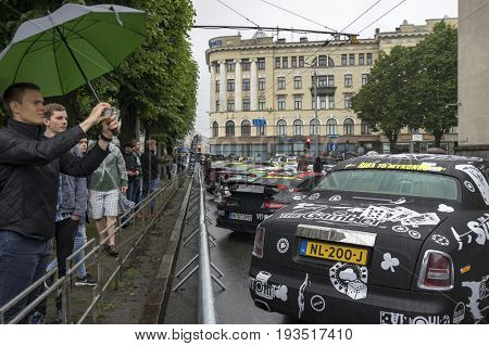 Riga, Latvia - July 01, 2017: cars from Gumball 3000 race Riga to Mykonos is on display. Riga host Gumball 3000 during the 2017 Rally being both the starting grid and flag drop destination.