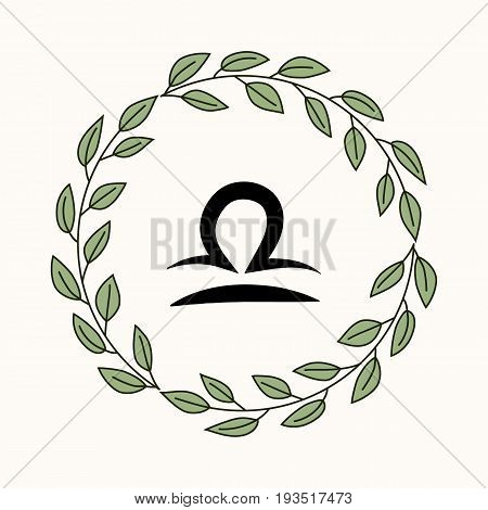 Hand drawing flat libra symbol in rustic floral wreath