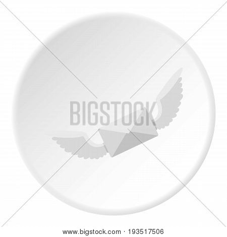 White envelope with two wings icon in flat circle isolated vector illustration for web