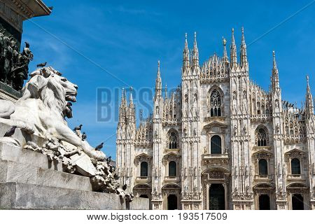 Piazza del Duomo with Milan Cathedral (Duomo di Milano) in Milan, Italy. Milan Duomo is the largest church in Italy.