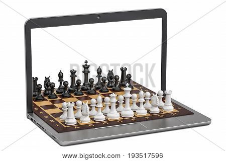 Play Chess online concept 3D rendering isolated on white background