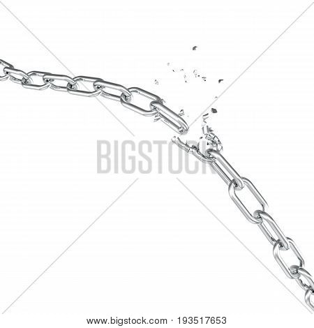 Broken steel, Broken metal chain links freedom concept. Disruption strong steel. 3D illustration