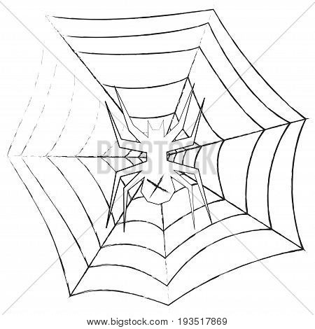 Grunge spider in the web. Vector illustration on a white background. Cross.