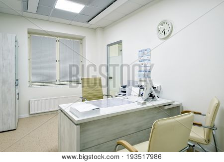 MOSCOW - DECEMBER 14, 2016: Modern interior of doctor`s office in a clinic.
