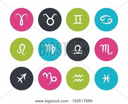 Set of hand drawing zodiac symbols flat colored round icons on the white background
