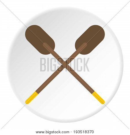 Two wooden crossed oars icon in flat circle isolated vector illustration for web