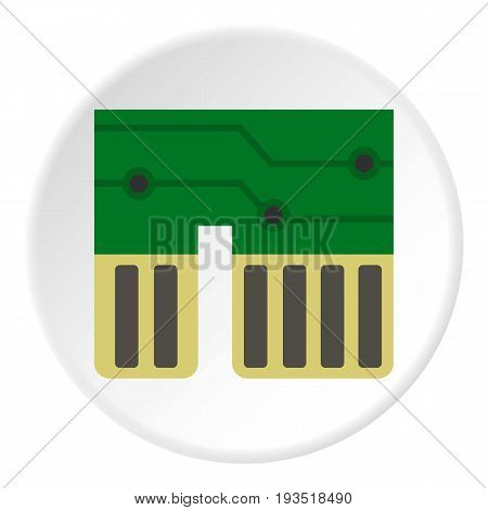 Computer chipset icon in flat circle isolated vector illustration for web