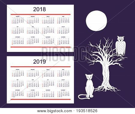 Classic american calendar for wall year 2018 and 2019 with drawn animals. English language. Week starts on Sunday. There are all 12 month. eps 10