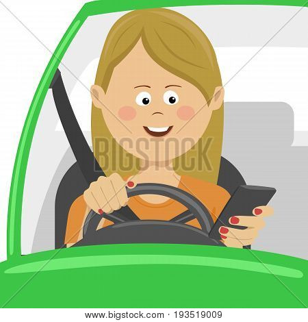 Young woman using her smartphone behind the wheel. Problem addiction danger concept, dangerous situation