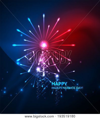 Happy Independence Day 4 july fireworks design, glowing lights in the dark. Celebration sale poster