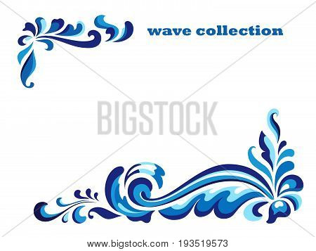 Rectangle frame with corner swirl ornaments, blue wave pattern on white, curly decoration for greeting card or invitation design