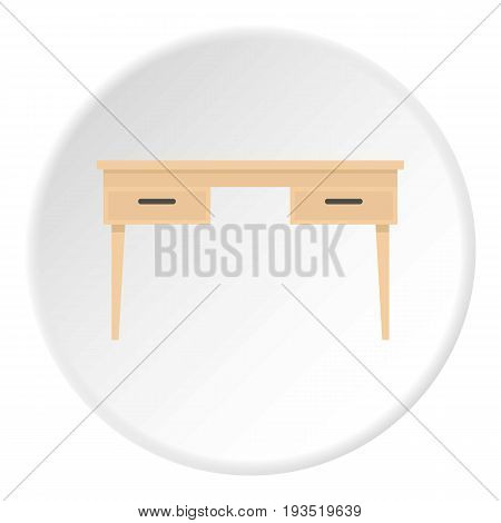 Wooden table icon in flat circle isolated vector illustration for web