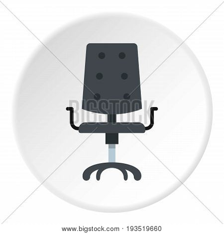 Black office chair icon in flat circle isolated vector illustration for web