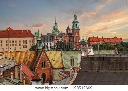 Krakow - Wawel castle in the evening in urban areas. Poland Europe.