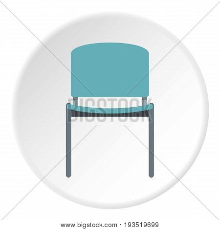 Blue office metal chair icon in flat circle isolated vector illustration for web
