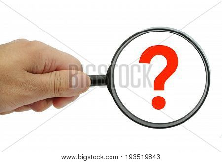 Magnifying glass with small and big question mark on white background