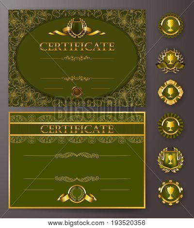 Set of elegant templates of diploma with lace ornament, ribbon, wax seal, laurel wreath, badges, place for text. Certificate of achievement, education, awards, winner. Vector illustration EPS 10.