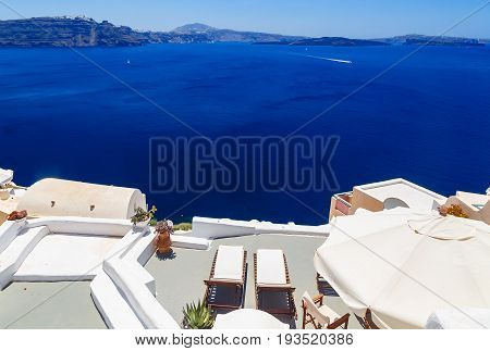 Santorini volcanic caldera as seen from Fira, capital of Santorini, Greece