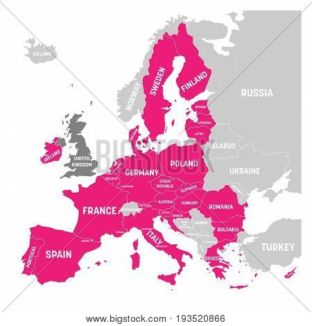 Map of Europe with pink highlighted EU member states and United Kingdom in different color. Vector illustration. Simplified map of European Union.